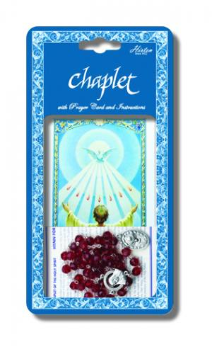 Chaplet Rosary Holy Spirit Oxidized Silver Red Glass Beads