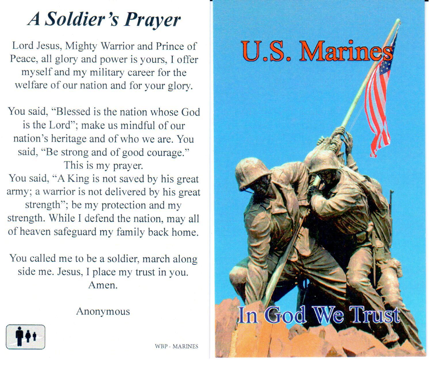 Prayer Holy Card Military US Marines Laminated